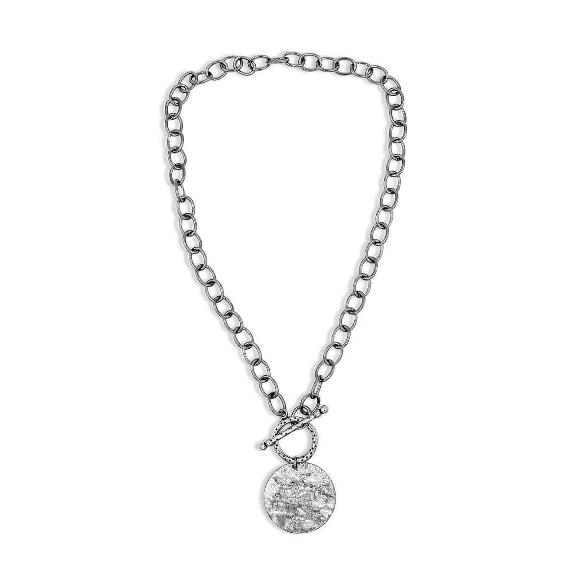 Silver Statement Necklace With Front Toggle Clasp