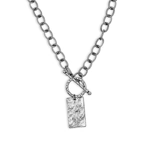 Silver Rectangle Pendant Toggle Necklace