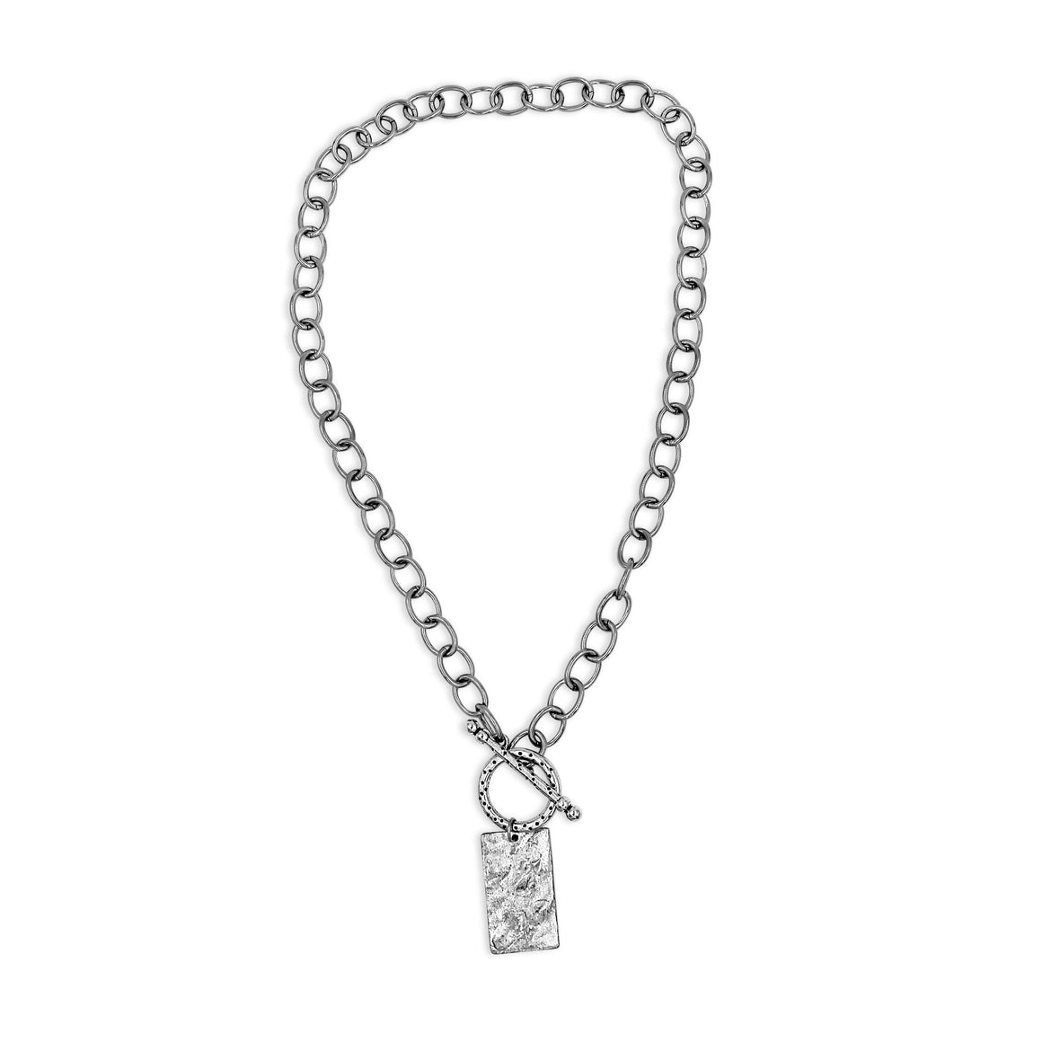 Silver Statement Necklace with Rectangle Pendant