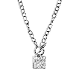Silver Square Pendant Toggle Necklace