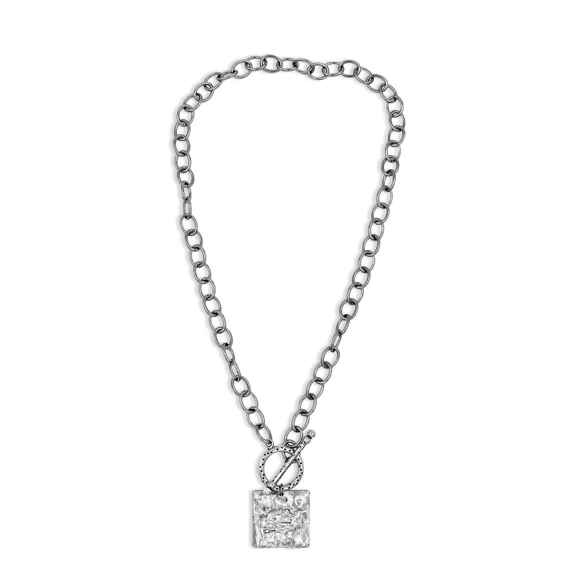 Silver Statement Necklace with Square Pendant