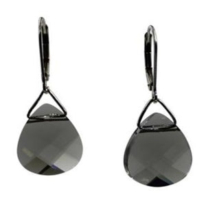 Black Diamond Swarovski Crystal Briolette Dangle Earrings- Creative Jewelry by Marcia
