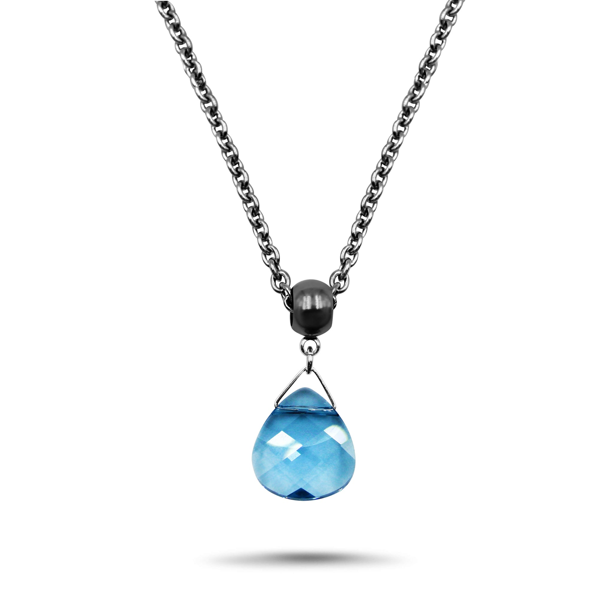 Aquamarine Swarovski Crystal Necklace - Creative Jewelry by Marcia - Asymmetrical Jewelry - Timeless Jewelry