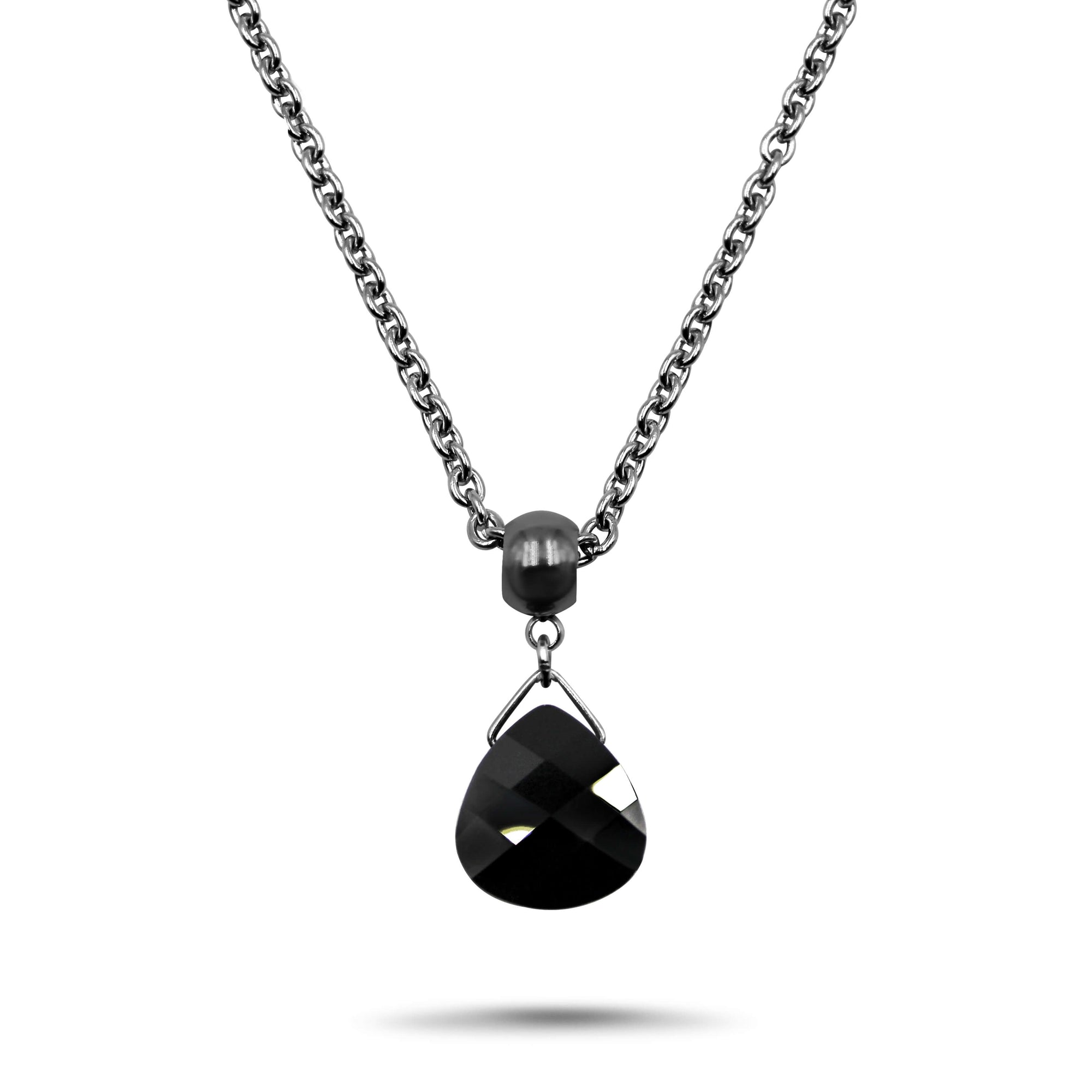 Jet Black Swarovski Crystal Necklace - Creative Jewelry by Marcia - Asymmetrical Jewelry - Timeless Jewelry