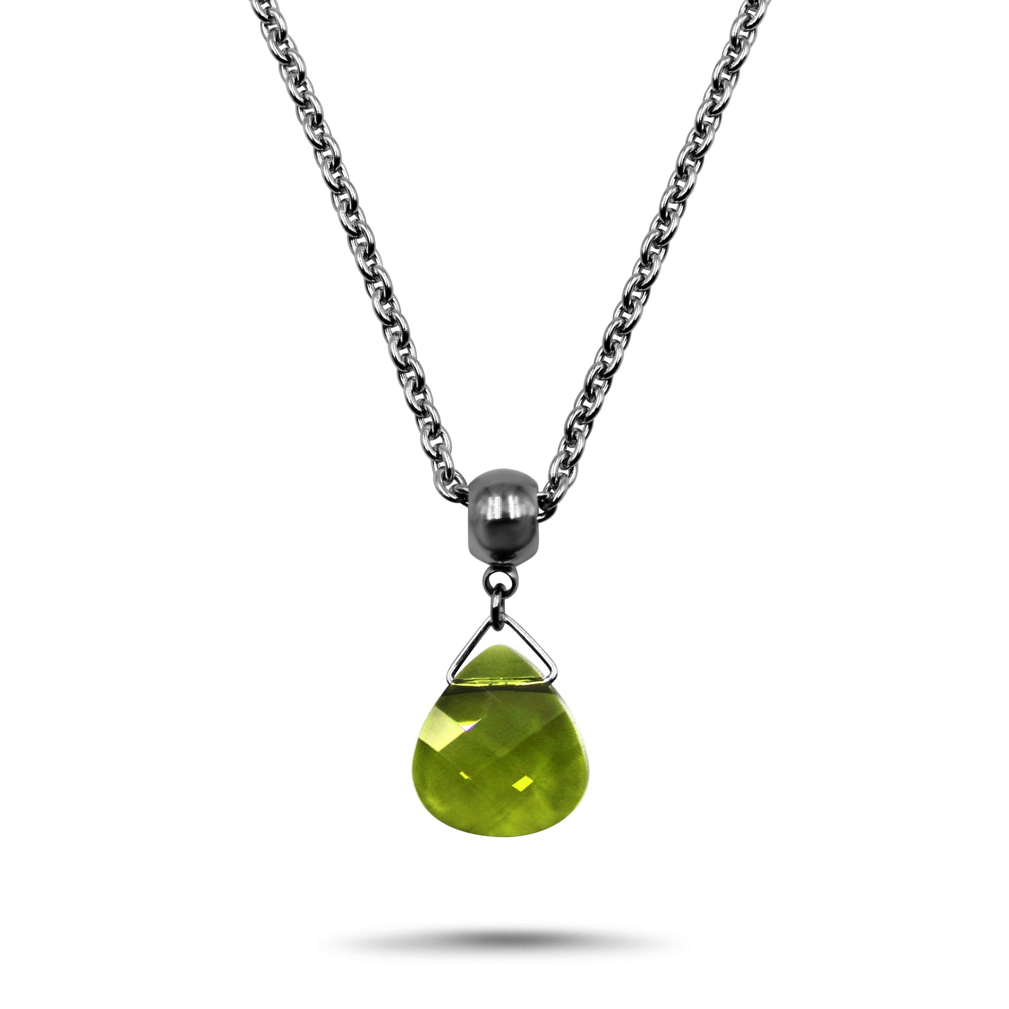 Olivine Swarovski Crystal Necklace - Creative Jewelry by Marcia - Asymmetrical Jewelry - Timeless Jewelry