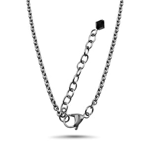 Jet Black Swarovski Crystal Necklace with Stainless Steel Chain Bail Lobster Clasp and Extender Chain