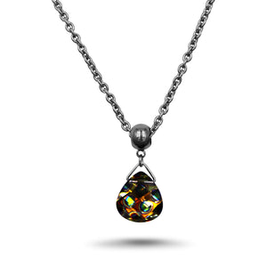 Peacock Swarovski Crystal Necklace - Creative Jewelry by Marcia - Asymmetrical Jewelry - Timeless Jewelry