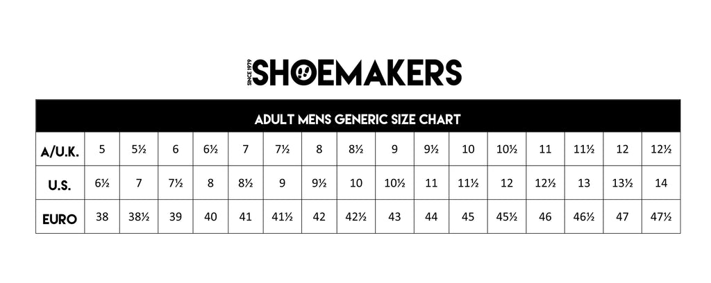 Shoemakers generic mens shoe sizing.