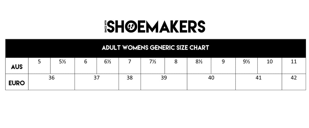Shoemakers generic women's shoe sizing.