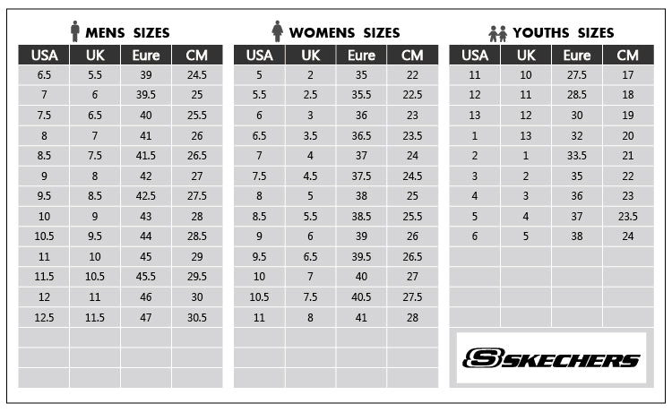 745ab4cb2488 SKECHERS SIZE GUIDE - MENS, WOMENS & KIDS – Shoemakers
