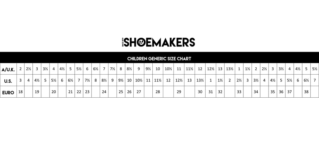 Shoemakers generic sizing for children's shoes.