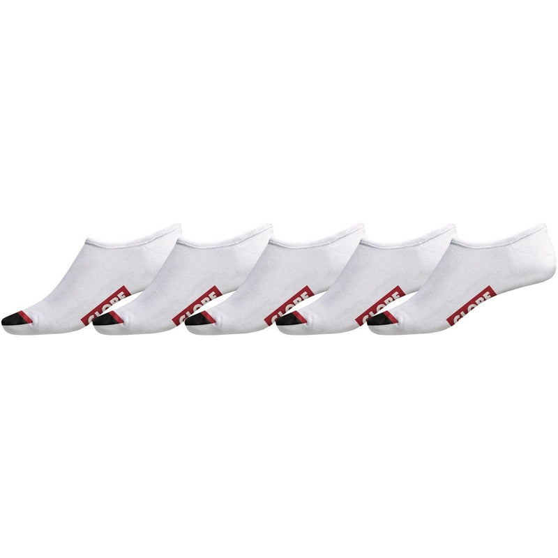 GLOBE TIPPER INVISIBLE SOCK WHITE 5 PACK