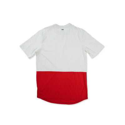 102175-117 | COLOR BLOCK SS CREW II | WHITE/BLUE/RED