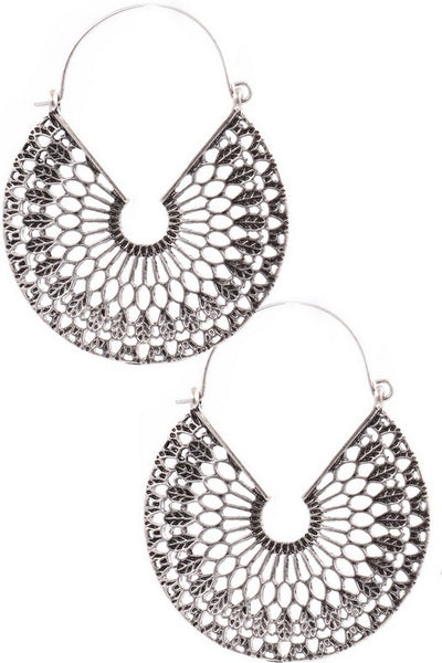 SILVER TEXTURED CUT-OUT EARRINGS