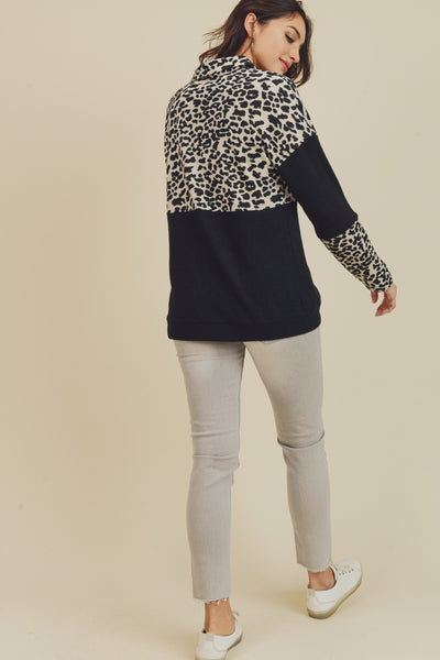 LEOPARD PULL OVER HALF ZIP