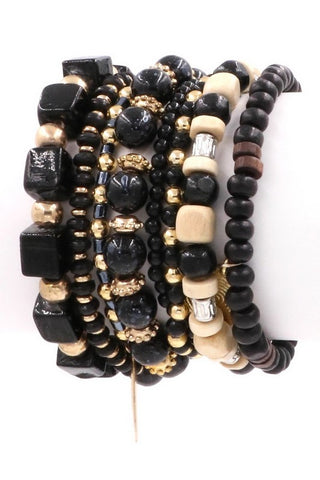 BLACK BEADED BRACELET STACK