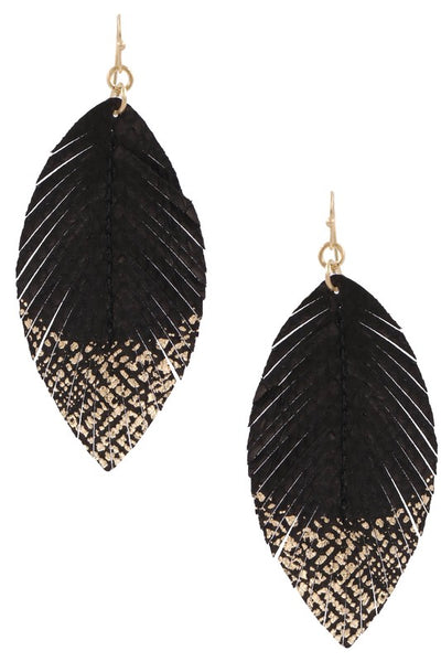 BLACK & GOLD FAUX LEATHER FEATHER EARRINGS