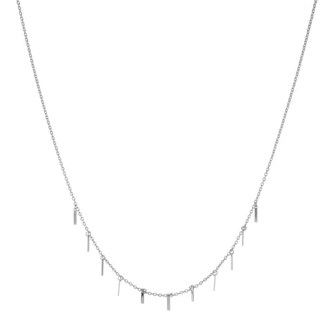 DAINTY SILVER RECTANGLE NECKLACE