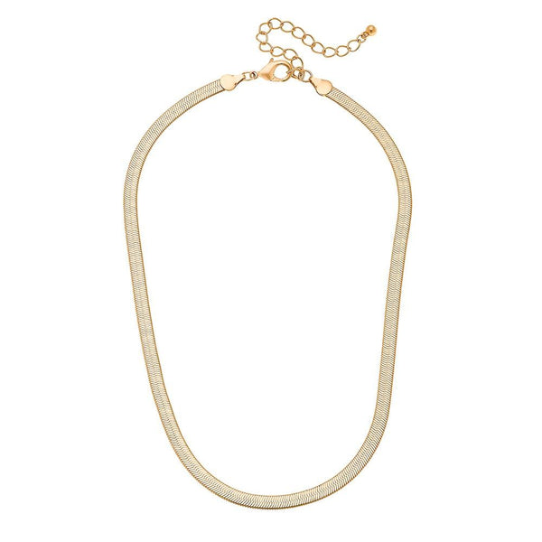 MATTE GOLD HERRINGBONE CHAIN NECKLACE