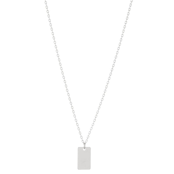 SILVER RECTANGLE PENDANT NECKLACE