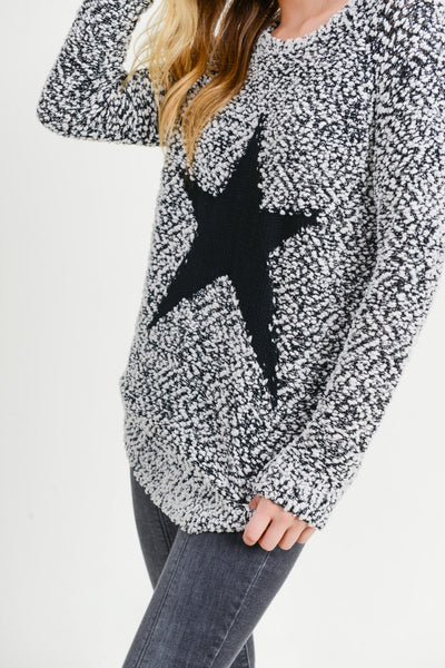 BLACK & WHITE STAR SWEATER