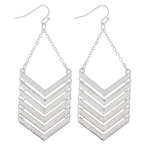 SILVER CHEVRON LINKED DROP EARRINGS
