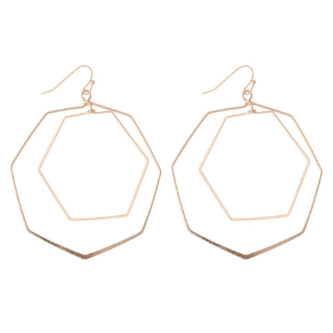 GOLD HEXAGON NESTED DROP EARRINGS