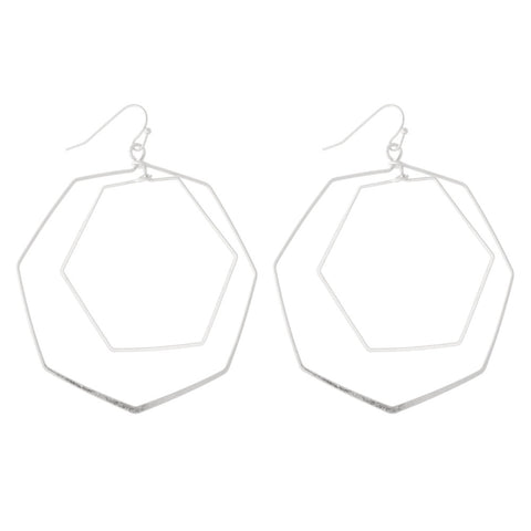 SILVER HEXAGON NESTED DROP EARRINGS