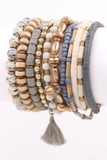 GREY MULTI BEADED BRACELET STACK