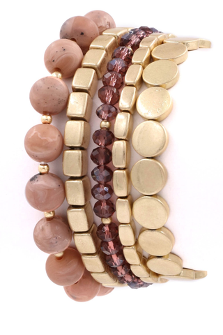 LIGHT PINK & GOLD BEADED BRACELET STACK