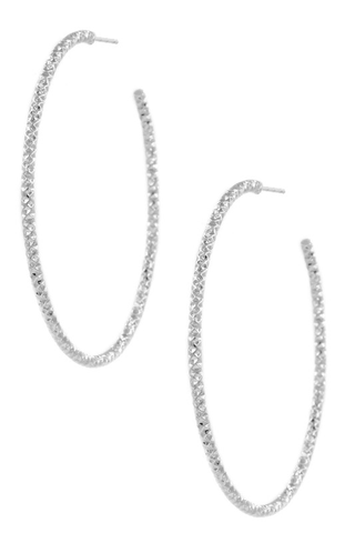SILVER TEXTURED HOOPS