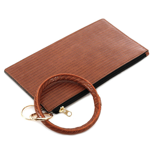 COGNAC FAUX LEATHER BANGLE WRISTLET