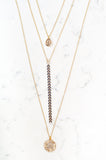 GOLD THREE TIER PENDANT & FISHTAIL NECKLACE