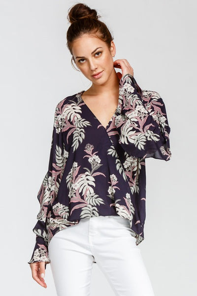 NAVY FLORAL DRAPED BLOUSE