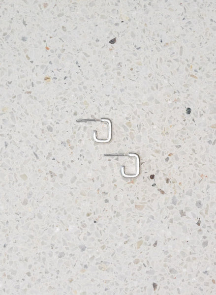 SMALL SILVER SQUARE HOOPS