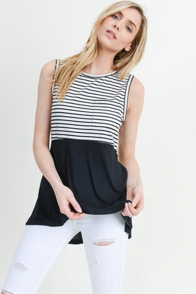OATMEAL & BLACK STRIPED TANK