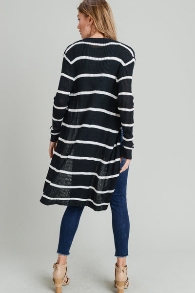STRIPED RIBBED OPEN CARDIGAN