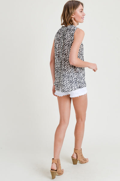 LEOPARD HIGH NECK RUFFLE TANK