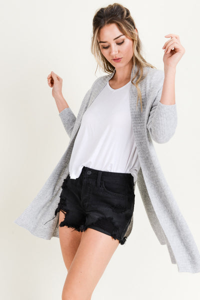 GREY RIBBED SLIT BACK CARDIGAN