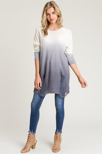 RIPPED HEM OMBRE SWEATER