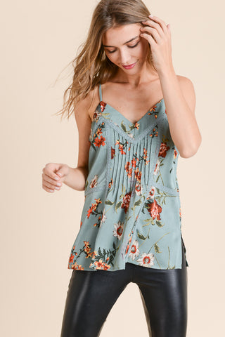 SAGE FLORAL PINTUCK LACE CAMI