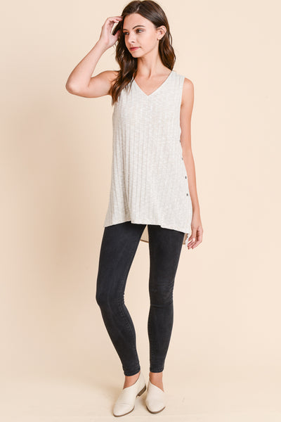V-NECK RIBBED TUNIC TANK