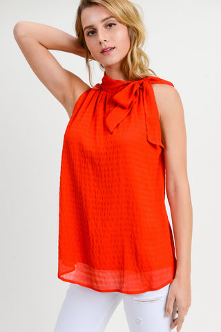 RED SLEEVELESS SIDE TIE TANK