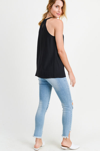 BLACK TANK WITH SHEER V-NECK