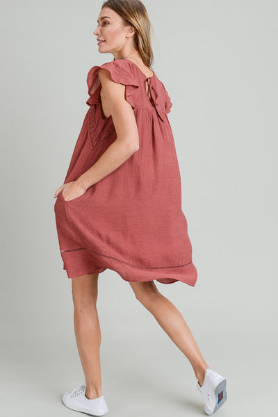 FLUTTER SLEEVE DRESS WITH CROCHET TRIM