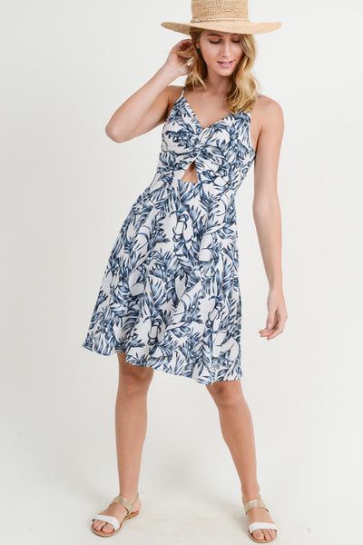 NAVY PRINTED TWIST FRONT DRESS