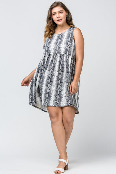 PLUS GREY REPTILE PRINTED TANK DRESS