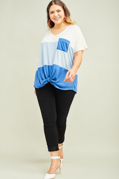 PLUS V NECK COLOR BLOCKED TEE