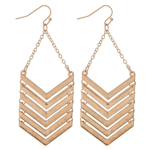 GOLD CHEVRON LINKED DROP EARRINGS