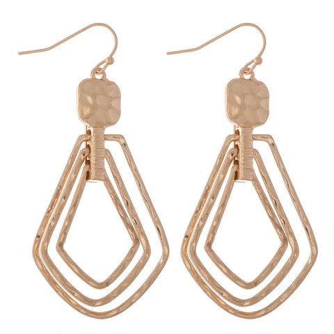 GOLD HAMMERED TEARDROP EARRINGS